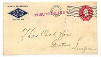 AC217 1908 USA *NEW YORK* Geneva Switzerland Postal Stationery Cover PTS
