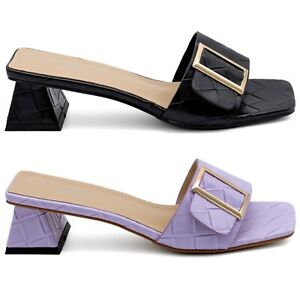 Ladies Womens Low Heel Summer Colourful Buckle Strap Sandals Shoes
