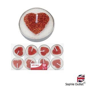 8pk Red Glitter Heart Tea Light Candles Valentines Day Romantic Decor Love P7086