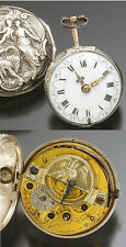 Antique German Verge Mock Pendulum Repousse Allegorical Scene Pair Case Watch