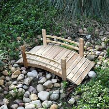 Wooden Garden Bridge 4 ft. Cedar Wood Pond Walkway Backyard Natural Finish New