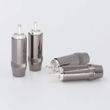 HiFi 4pcs Silver Plated Audio RCA Plug 8mm Cable Silver Connector for audiophile