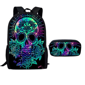 Skull Backpack Boy Girl School Shoulder Bag Travel Pencil Bag Rucksack Satchel