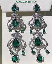 Platinum Sterling Silver Green White Sapphire Pear Halo Drop Chandelier Earrings
