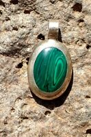 Sterling Silver Pendant w Green Malachite Inlay Oval Mexican Vintage Necklace