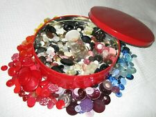 Vintage Round Red Tin of Grandma's Buttons 3 lb. Sewing Craft Room