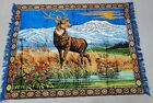 """Large Vintage Cloth Deer/ Buck Tapestry, Mountain Scenery, 64"""" x 48""""Cabin Decor"""