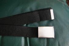 40mm Repro Black Webbing Silver Metal Buckle Military Royal Navy Style Belt