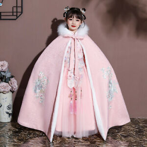 2021 Girls' cloak fur collar plus velvet thickened autumn and winter outing