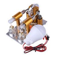 Metal Hot Double Cylinder Stirling Engine Model Bulb External Combustion Model