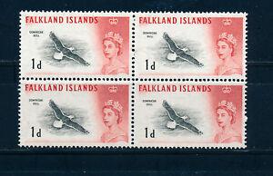 FALKLAND ISLANDS 1960 DEFINITIVES SG194 1d (BIRD) BLOCK OF 4 MNH