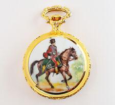 Aero Watch Neuchatel Swiss Taschenuhr Sprungdeckeluhr vergoldet Emaille Reiter