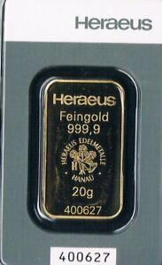 HERAEUS 1 Goldbarren 20 Gramm Feingehalt Gold 999,9 LBMA Zertifiziert Neu / 2021