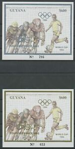 [PG24] Guyana 1993-94 Cycling and Football good sheets very fine MNH (2x)