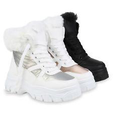 Damen Stiefeletten Plateau Boots Warm Gefütterte Winter Schnürer 832643 Schuhe