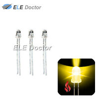 100pcs 3mm Water Clear Yellow Light Candle Flicker Flicking LED Diodes 585-595nm