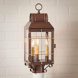 Martha's new Triple Light Outdoor Post lantern light in Antique Copper