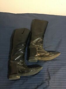 Mens English leather tall boots. Size 11 1/2