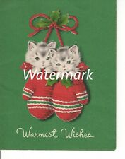 Vintage Norcross Christmas Card Kittens Double Cat Warm Wishes Mittens Small