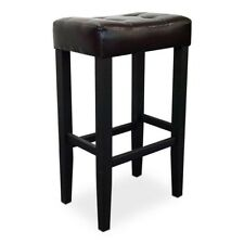 Kent Bar Stool Deep Brown Faux Leather Set of 2