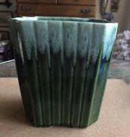 Green Glazed Pottery XL Planter/Vase + Liner USA Made! MINT!