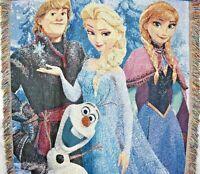Frozen Disney Woven Knit Throw Blanket 60 x 48 Elsa Anna Olaf Kristoff GUC *Note
