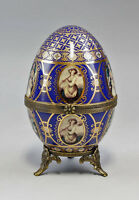 9987141 Othengrafen prunkvolle Porzellan Ei Dose blau gold Medaillons 14x8cm