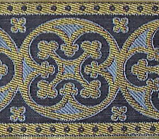 "2¼"" Wide Jacquard Christian Vestment Trim Gold & Blue Medieval Gothic DIY"