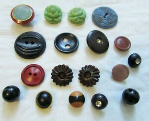 18pc Vintage Misc Celluloid Buttons Collection Green Blue Black Beige Rhinestone