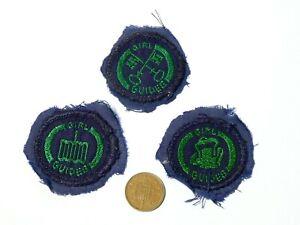 3 x Vintage Embroidered Cloth Badges Girl Guides Homemaker Cook Laundress #G2
