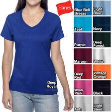 Hanes Ladies V-Neck T-Shirt 100% Cotton Nano Tee Top XS-2XL Womens Tee NEW