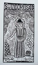 "Original Woodcut Print ""Saint Izidorius"" by Lithuanian Traditional Artist"