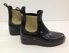 Lemon Jelly Size 40 Black Rubber Rain Ankle Boots Gold Metallic Sparkles