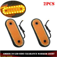 2X Amber 20LED Car Truck Trailer Oval Side Marker Tail Lights Clearance Lamp