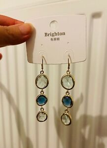 Beautiful Gold Multi Glass Stone Blue Clear Gemstone Long Drop dangling Earring