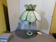 Antique Slag Glass Table Lamp Marble Base.