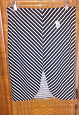 Crush Womens White/Black Chevron Stripe Skirt Scalloped Cut Slit Stretch 1X Sexy