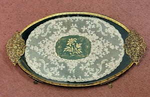 A VINTAGE BRASS METAL LACE & GOLD THREAD EMBROIDERY VANITY DRESSING TABLE TRAY.