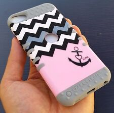iPod Touch 5th 6th Generation - HARD & SOFT RUBBER HYBRID CASE PINK GRAY CHEVRON