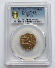 India Bengal Presidency AH1202/19 Gold Half Mohur PCGS AU-58