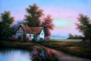 """Hand Painted Country Landscape Oil Painting Wall Decor Art Size 36"""" x 24"""" New"""