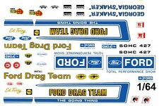 Official FORD Drag Team 1/64th HO Scale Slot Car Waterslide Decals