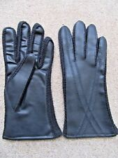 NEW BLACK FAUX LEATHER SIZE 7 GLOVES WRIST LENGTH