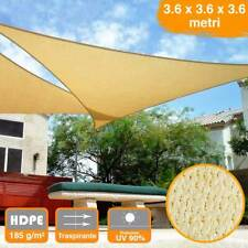 Vela Telo Parasole 3,6x3,6mt Tenda Triangolare Ombreggiante Giardino HDPE Beige
