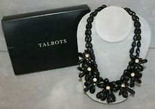 NEW Talbots Black Chunky Flowers Statement Necklace ($79.50 Retail)