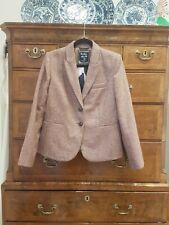 Boden British Pink Brown Herringbone Tweed By Moon Jacket, Size 14R, Worn Once