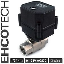 "1/2"" NPT Motorized Ball Valve Stainless Steel EPDM 9, 12V to 24V AC / DC 3-wire"