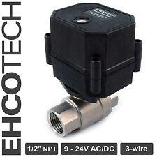 "1/2"" NPT Motorized Ball Valve Stainless Steel EPDM 9, 12V to 24V AC / DC 3-wire"