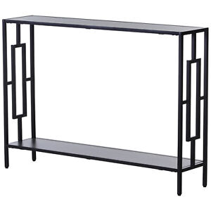 Console Table Narrow 2 Shelves MDF Steel Frame in Art Deco Square Style 76x106cm