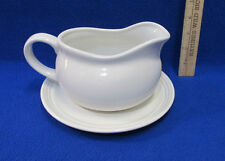 PIC China Gravy Boat & Plate In White Syrup Sauce Salad Dressings 2 Pieces